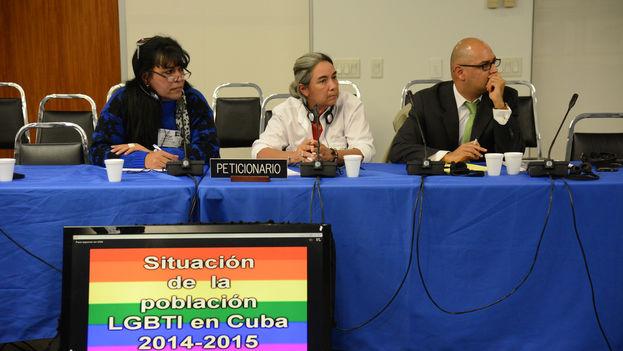 Ceci Montiel, Red Transfantasía; Juana Mora Cedeño, Arco Iris Libre de Cuba; Carlos Quezada, Instituto sobre Raza Igualdad y Derechos Humanos (CIDH/D. Cima)