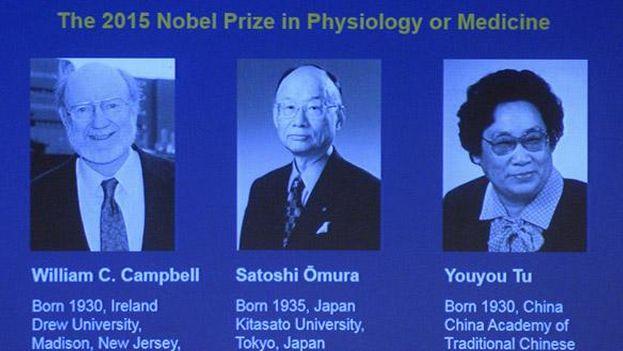 William C. Campbell, Satoshi Omura y Tu Youyou comparten el Nobel de Medicina 2015 por sus avances contra las enfermedades parasitarias. (Nobel Price)