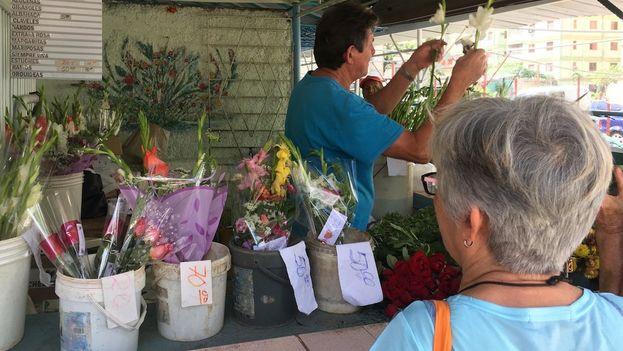 En celebraciones especiales, como el Día de los Enamorados o el Día de las Madres, la demanda de flores se dispara. (14ymedio)