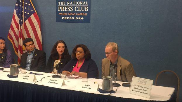 Durante la conferencia se destacaron múltiples casos de periodistas que han sido asesinados o detenidos mientras ejercían su profesión. (@PressClubDC)