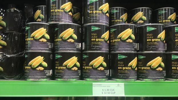 El pack de tres latas de maíz dulce se vende en España a 2,09 euros, mientras en Cuba una sola lata cuesta 1,30 CUC . (14ymedio)