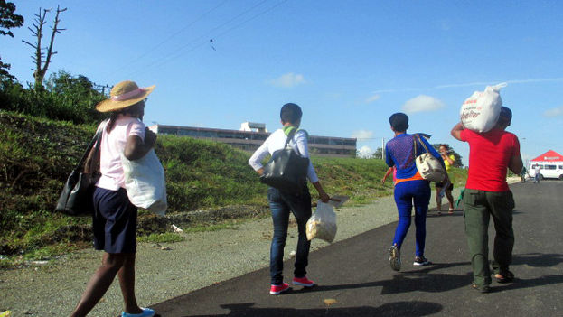 Un grupo de personas cargan sacos y bolsos con los productos gastronómicos ofertados especialmente por la llegada de Francisco. (Fernando Donate Ochoa)