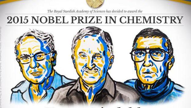Los tres ganadores del Nobel 2015 de Química. (Nobel Prize)