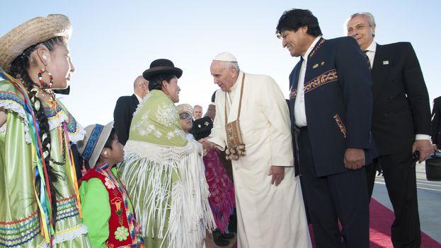 La llegada del papa Francisco a Bolivia. (Presidencia de Bolivia)