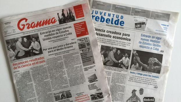 Las portadas de este viernes de 'Granma' y' Juventud Rebelde'. (14ymedio)