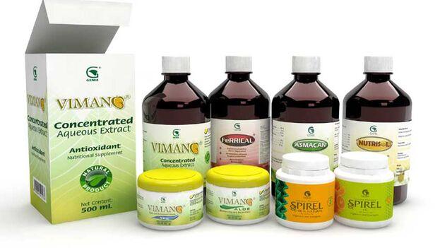 Los productos de corteza de mango comercializador por Labiofam, Vimang.