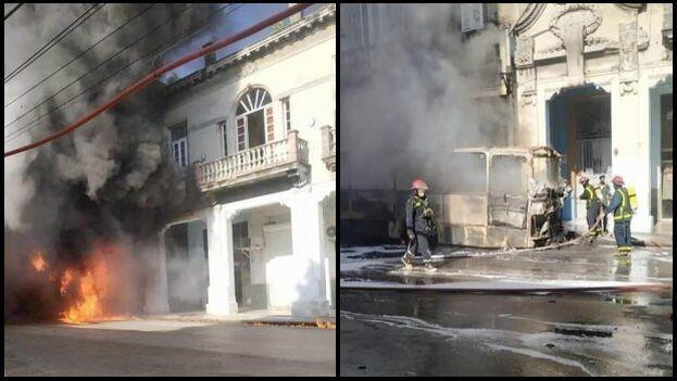 El vehículo se vio rápidamente envuelto en llamas en la calle Belascoaín de Centro Habana. (Collage/14ymedio)