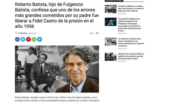 La web resumió la entrevista de '14ymedio' a Roberto Batista sin citarlo y firmó la nota.