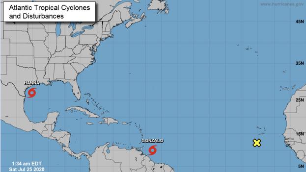 Estado de las tormentas 'Gonzalo' y 'Hanna' la madrugada de este sábado. (NOAA)